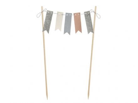 Silver, Grey & Pink Cake Bunting Topper